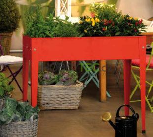 Červený pěstební stůl na bylinky