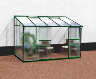 Hliníkový skleník ke zdi v zeleném provedení