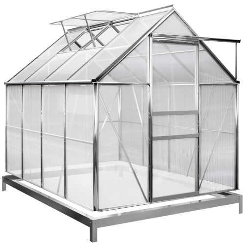 stříbrný zahradní skleník se základnou