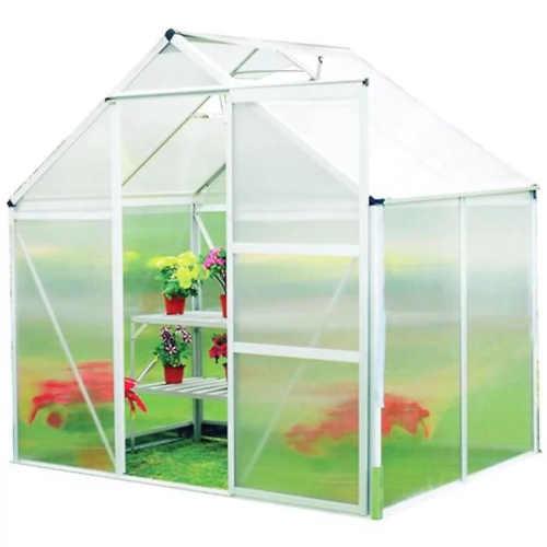 Polykarbonátový skleník s posuvnými dveřmi