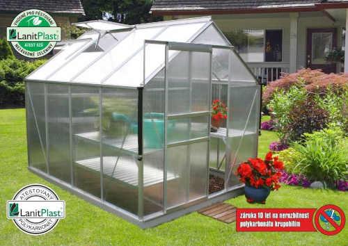 Polykarbonátový skleník stříbrný