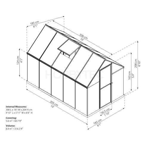 skleník palram multiline 6x10