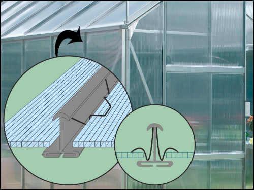zahradní polykarbonátový skleník ke stěně